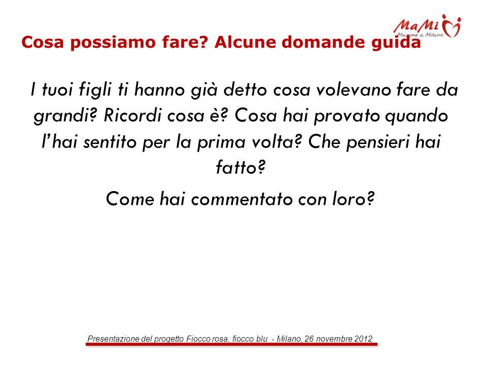 Presentazione del progetto Fiocco rosa, fiocco blu - Milano, 26 novembre 2012 Cosa possiamo fare? Alcune domande guida I tuoi figli ti hanno già detto