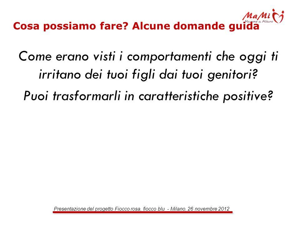 Presentazione del progetto Fiocco rosa, fiocco blu - Milano, 26 novembre 2012 Cosa possiamo fare? Alcune domande guida Come erano visti i comportament