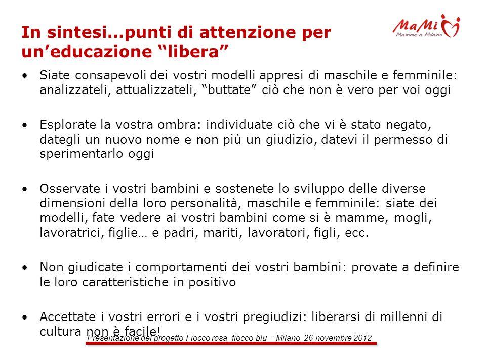 Presentazione del progetto Fiocco rosa, fiocco blu - Milano, 26 novembre 2012 In sintesi…punti di attenzione per uneducazione libera Siate consapevoli