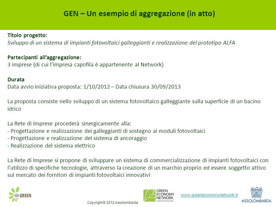 11 www.greeneconomynetwork.it GEN – Un esempio di aggregazione (in atto) Titolo progetto: Sviluppo di un sistema di impianti fotovoltaici galleggianti