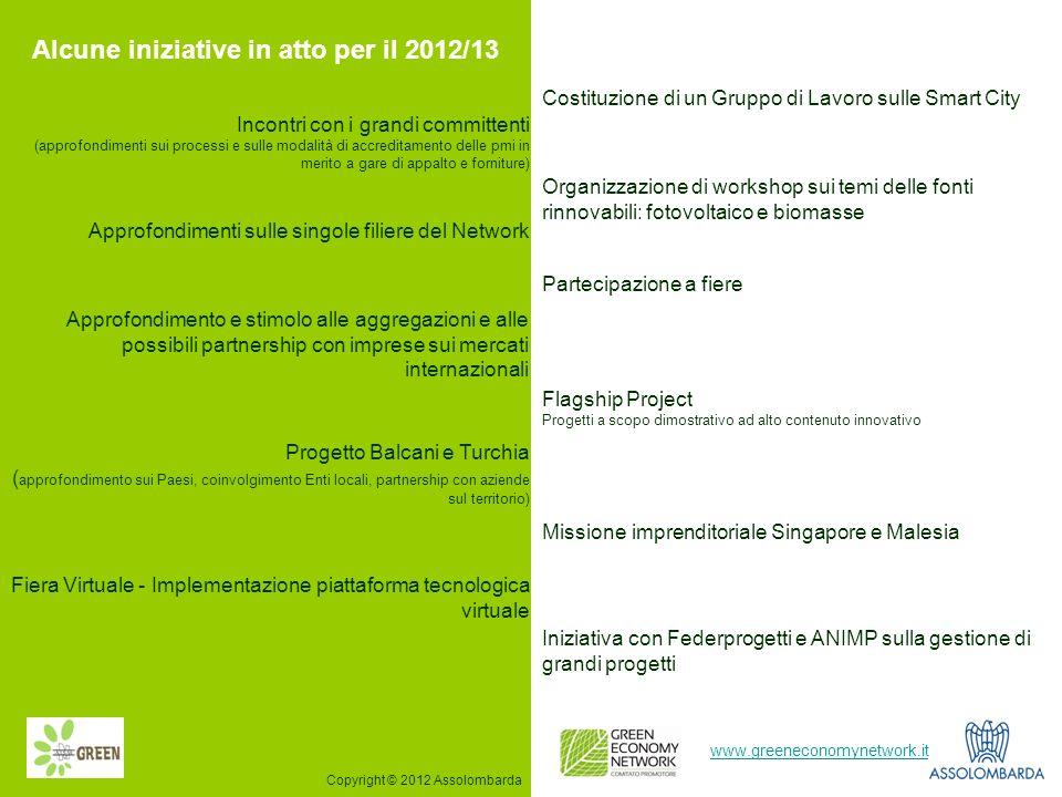 12 www.greeneconomynetwork.it Alcune iniziative in atto per il 2012/13 Costituzione di un Gruppo di Lavoro sulle Smart City Incontri con i grandi comm