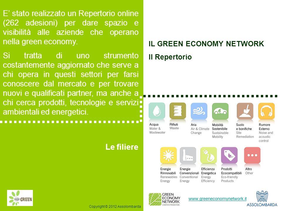 4 www.greeneconomynetwork.it E stato realizzato un Repertorio online (262 adesioni) per dare spazio e visibilità alle aziende che operano nella green