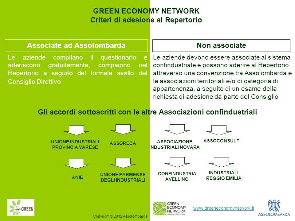 5 www.greeneconomynetwork.it Le aziende devono essere associate al sistema confindustriale e possono aderire al Repertorio attraverso una convenzione