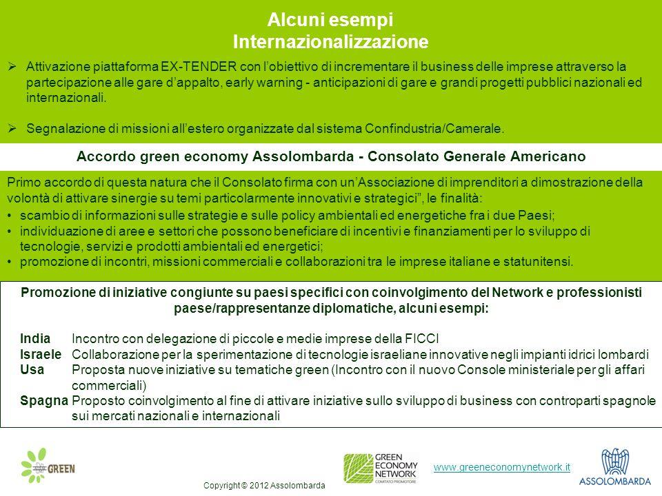 8 www.greeneconomynetwork.it Alcuni esempi Internazionalizzazione Promozione di iniziative congiunte su paesi specifici con coinvolgimento del Network