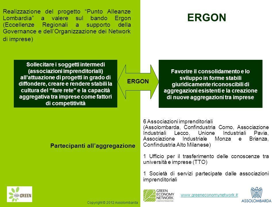 9 www.greeneconomynetwork.it Realizzazione del progetto Punto Alleanze Lombardia a valere sul bando Ergon (Eccellenze Regionali a supporto della Gover