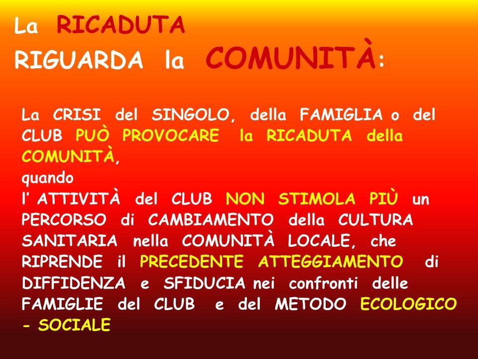 La CRISI del SINGOLO, della FAMIGLIA o del CLUB PUÒ PROVOCARE la RICADUTA della COMUNITÀ, quando l ATTIVITÀ del CLUB NON STIMOLA PIÙ un PERCORSO di CA