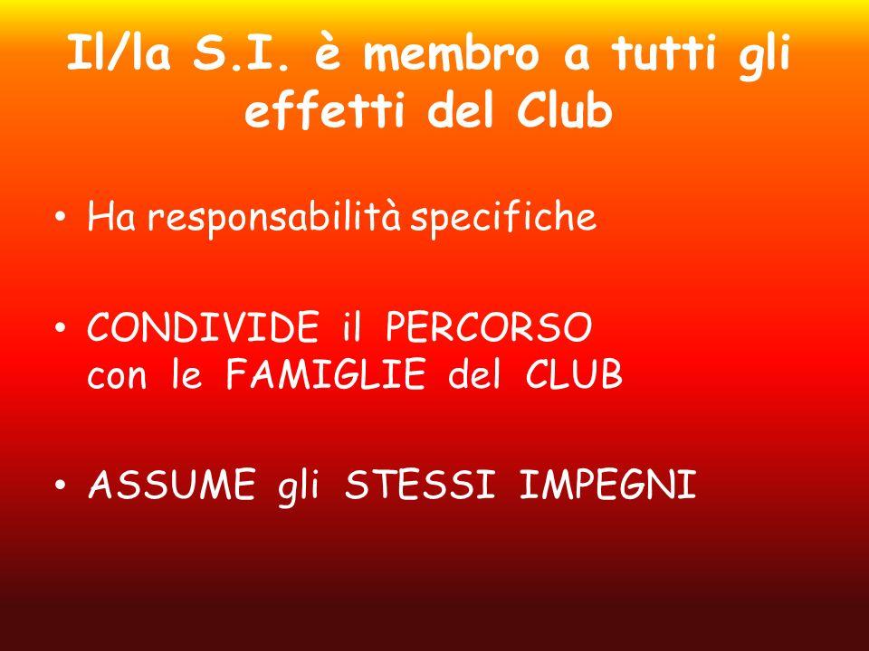 Il/la S.I. è membro a tutti gli effetti del Club Ha responsabilità specifiche CONDIVIDE il PERCORSO con le FAMIGLIE del CLUB ASSUME gli STESSI IMPEGNI