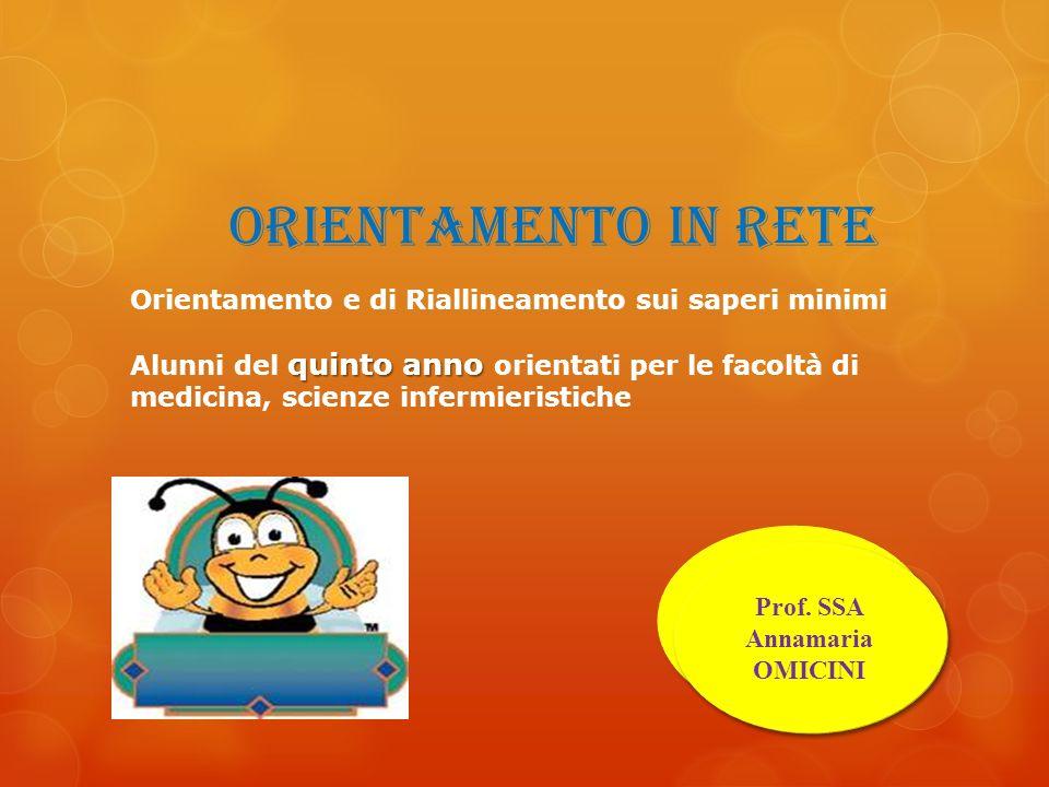 ORIENTAMENTO IN RETE Prof. Vito DAMORE Prof. SSA Annamaria OMICINI Orientamento e di Riallineamento sui saperi minimi quinto anno Alunni del quinto an