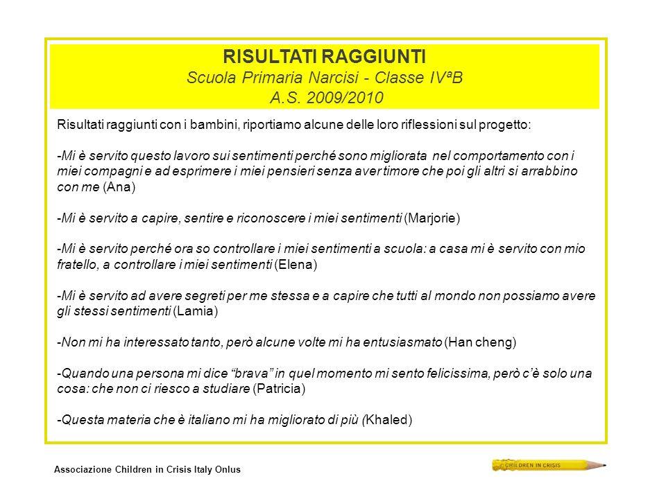 Associazione Children in Crisis Italy Onlus RISULTATI RAGGIUNTI Scuola Primaria Narcisi - Classe IVªB A.S. 2009/2010 Risultati raggiunti con i bambini