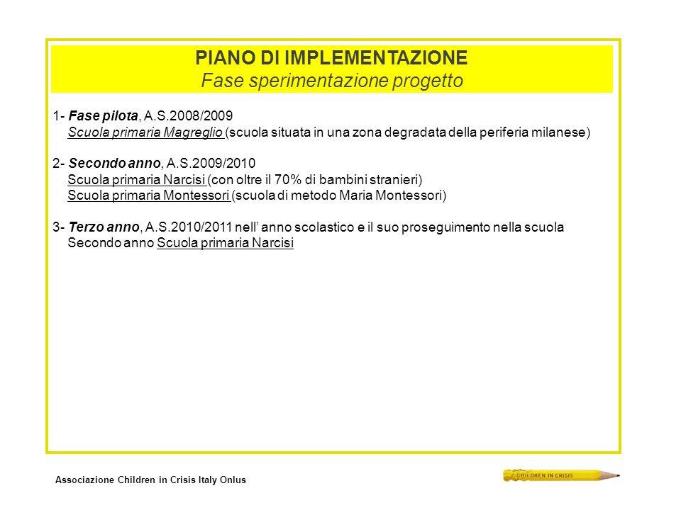 Associazione Children in Crisis Italy Onlus PIANO DI IMPLEMENTAZIONE Fase sperimentazione progetto 1- Fase pilota, A.S.2008/2009 Scuola primaria Magre