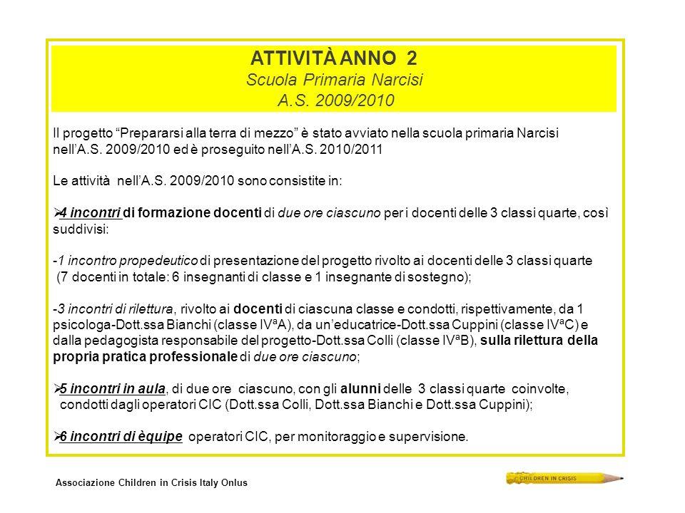 Associazione Children in Crisis Italy Onlus ATTIVITÀ ANNO 2 Scuola Primaria Narcisi A.S. 2009/2010 Il progetto Prepararsi alla terra di mezzo è stato
