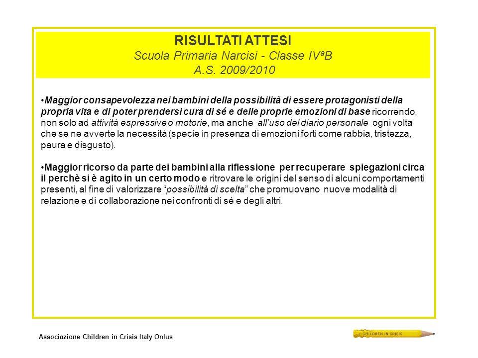 Associazione Children in Crisis Italy Onlus RISULTATI ATTESI Scuola Primaria Narcisi - Classe IVªB A.S. 2009/2010 Maggior consapevolezza nei bambini d
