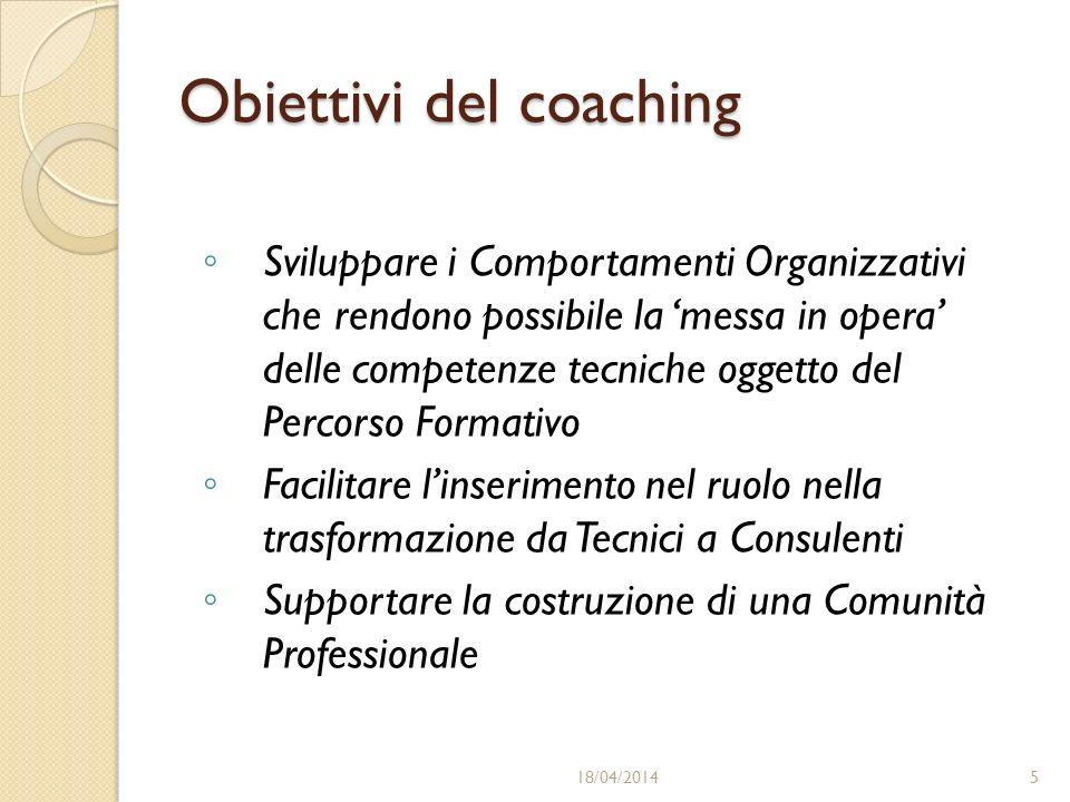 Obiettivi del coaching Sviluppare i Comportamenti Organizzativi che rendono possibile la messa in opera delle competenze tecniche oggetto del Percorso Formativo Facilitare linserimento nel ruolo nella trasformazione da Tecnici a Consulenti Supportare la costruzione di una Comunità Professionale 18/04/20145