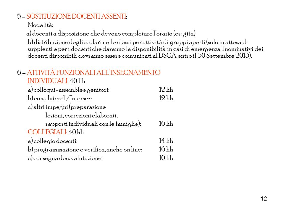 12 5 – SOSTITUZIONE DOCENTI ASSENTI: Modalità: a) docenti a disposizione che devono completare lorario (es.: gita) b) distribuzione degli scolari nell