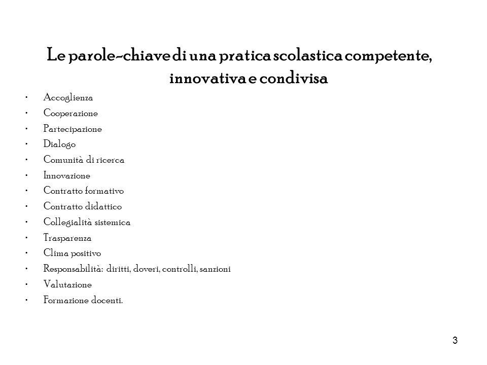 3 Le parole-chiave di una pratica scolastica competente, innovativa e condivisa Accoglienza Cooperazione Partecipazione Dialogo Comunità di ricerca In