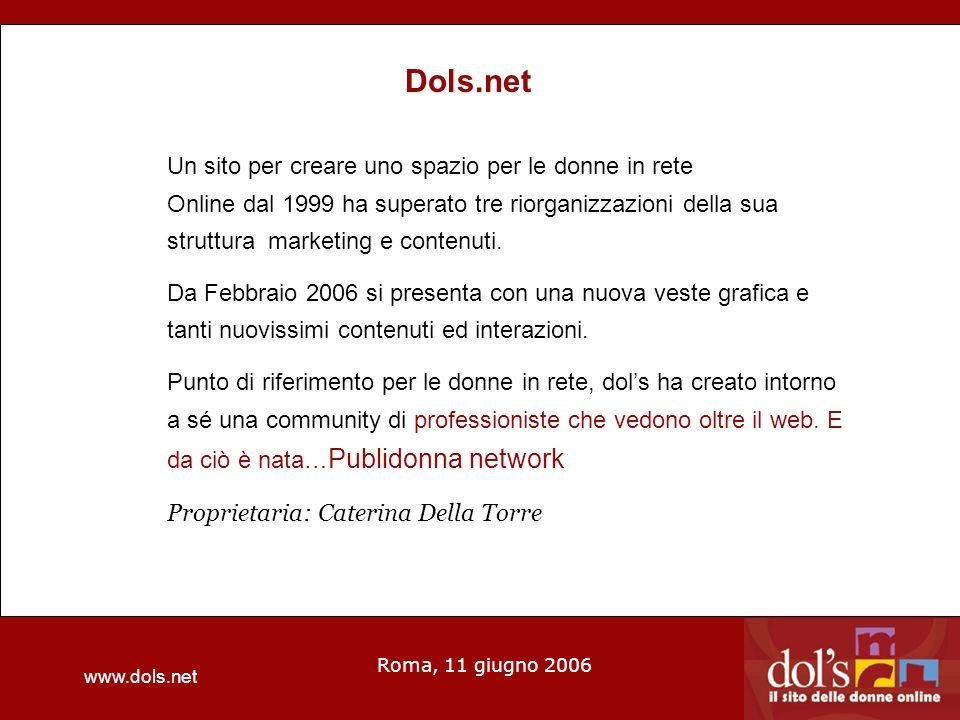 www.dols.net Roma, 11 giugno 2006 Dols.net Un sito per creare uno spazio per le donne in rete Online dal 1999 ha superato tre riorganizzazioni della sua struttura marketing e contenuti.