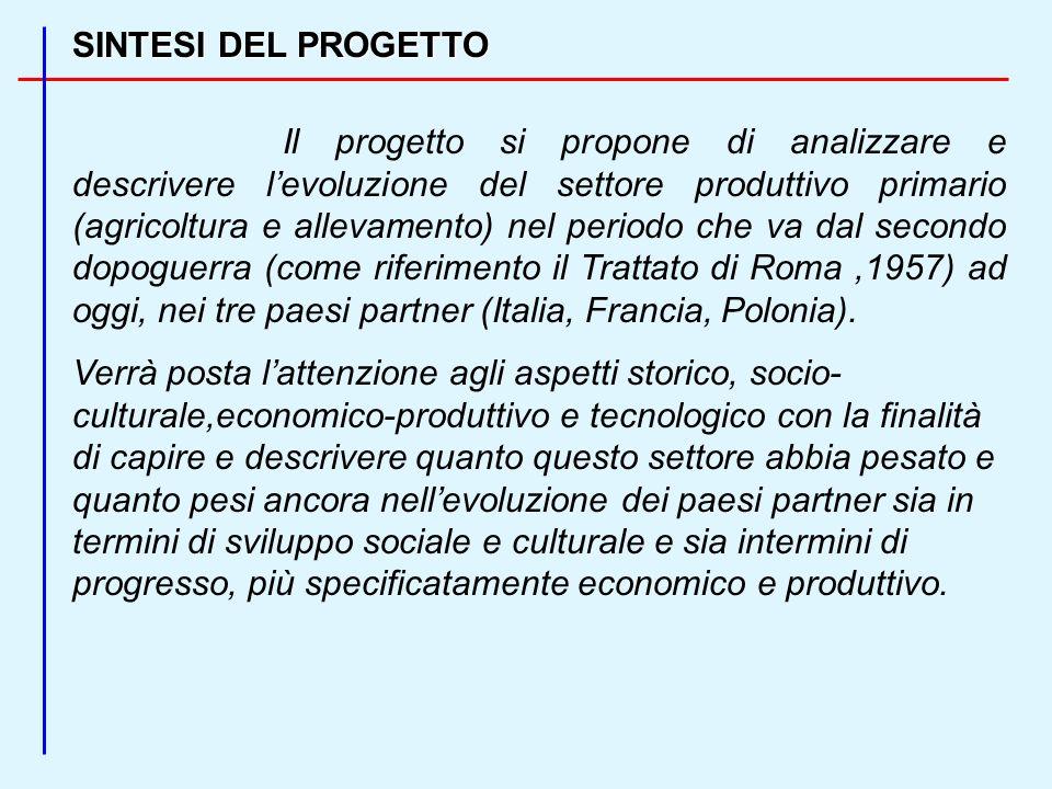 SINTESI DEL PROGETTO Il progetto si propone di analizzare e descrivere levoluzione del settore produttivo primario (agricoltura e allevamento) nel periodo che va dal secondo dopoguerra (come riferimento il Trattato di Roma,1957) ad oggi, nei tre paesi partner (Italia, Francia, Polonia).