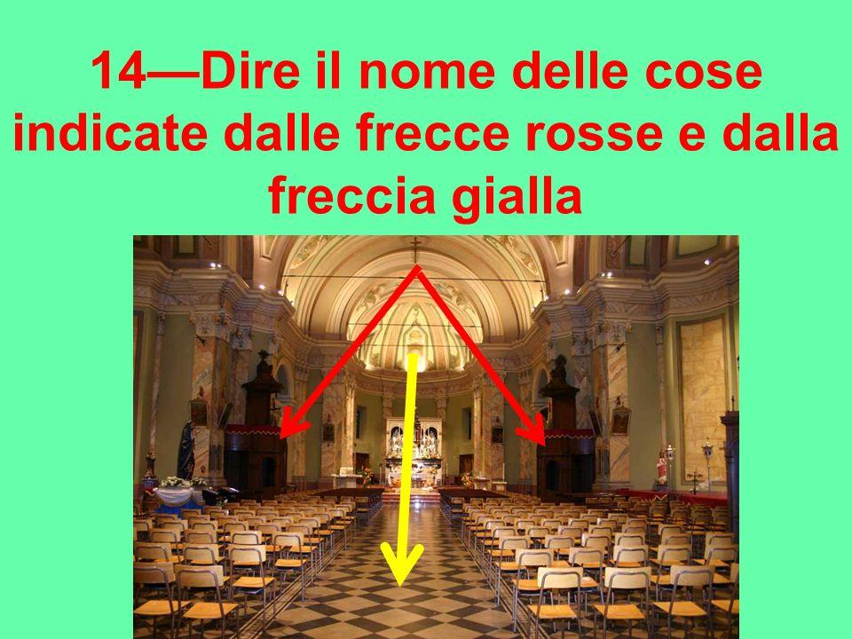 14Dire il nome delle cose indicate dalle frecce rosse e dalla freccia gialla