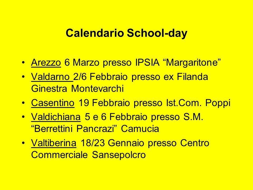 Calendario School-day Arezzo 6 Marzo presso IPSIA Margaritone Valdarno 2/6 Febbraio presso ex Filanda Ginestra Montevarchi Casentino 19 Febbraio press