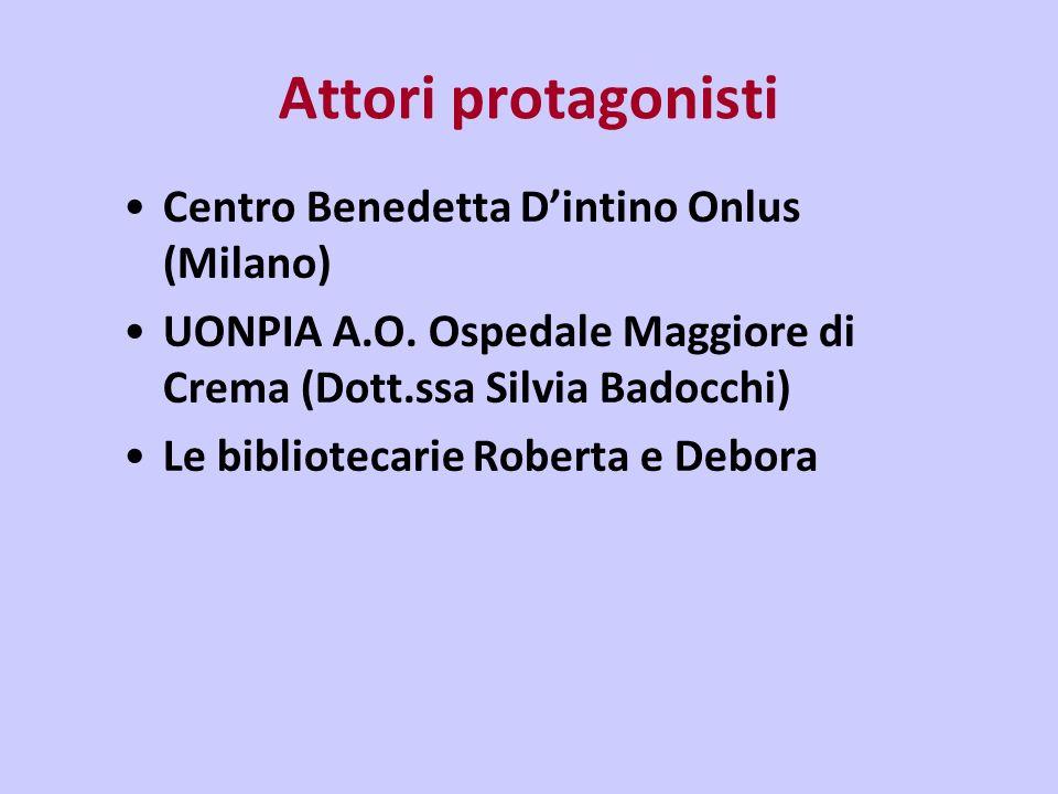 Attori protagonisti Centro Benedetta Dintino Onlus (Milano) UONPIA A.O.