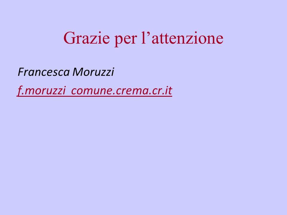 Grazie per lattenzione Francesca Moruzzi f.moruzzi comune.crema.cr.it