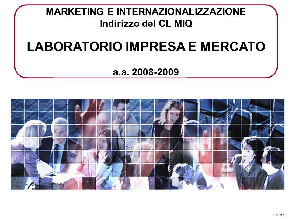 Slide 1-1 MARKETING E INTERNAZIONALIZZAZIONE Indirizzo del CL MIQ LABORATORIO IMPRESA E MERCATO a.a.