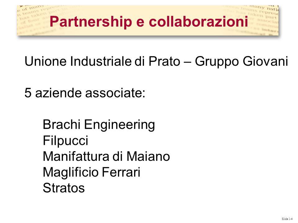 Slide 1-4 Unione Industriale di Prato – Gruppo Giovani 5 aziende associate: Brachi Engineering Filpucci Manifattura di Maiano Maglificio Ferrari Stratos Partnership e collaborazioni