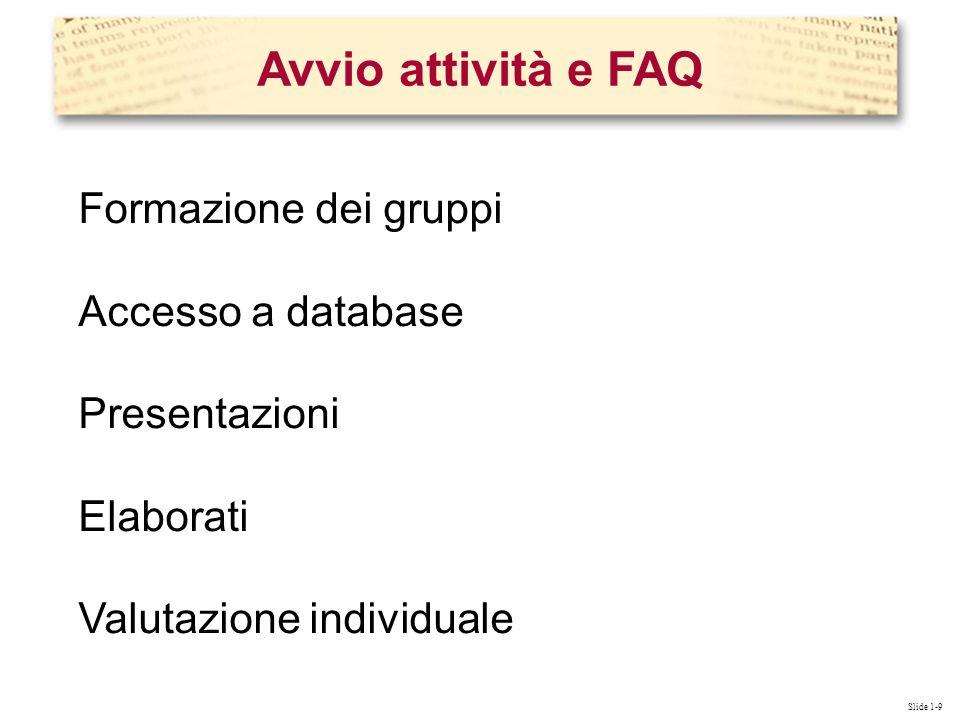 Slide 1-9 Formazione dei gruppi Accesso a database Presentazioni Elaborati Valutazione individuale Avvio attività e FAQ