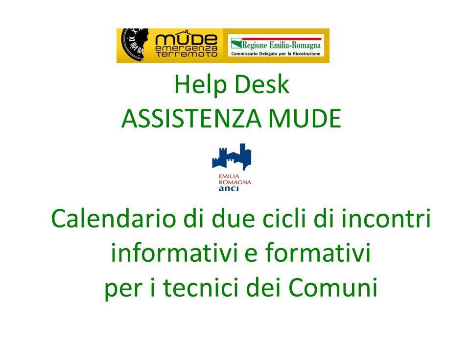 Help Desk ASSISTENZA MUDE Calendario di due cicli di incontri informativi e formativi per i tecnici dei Comuni