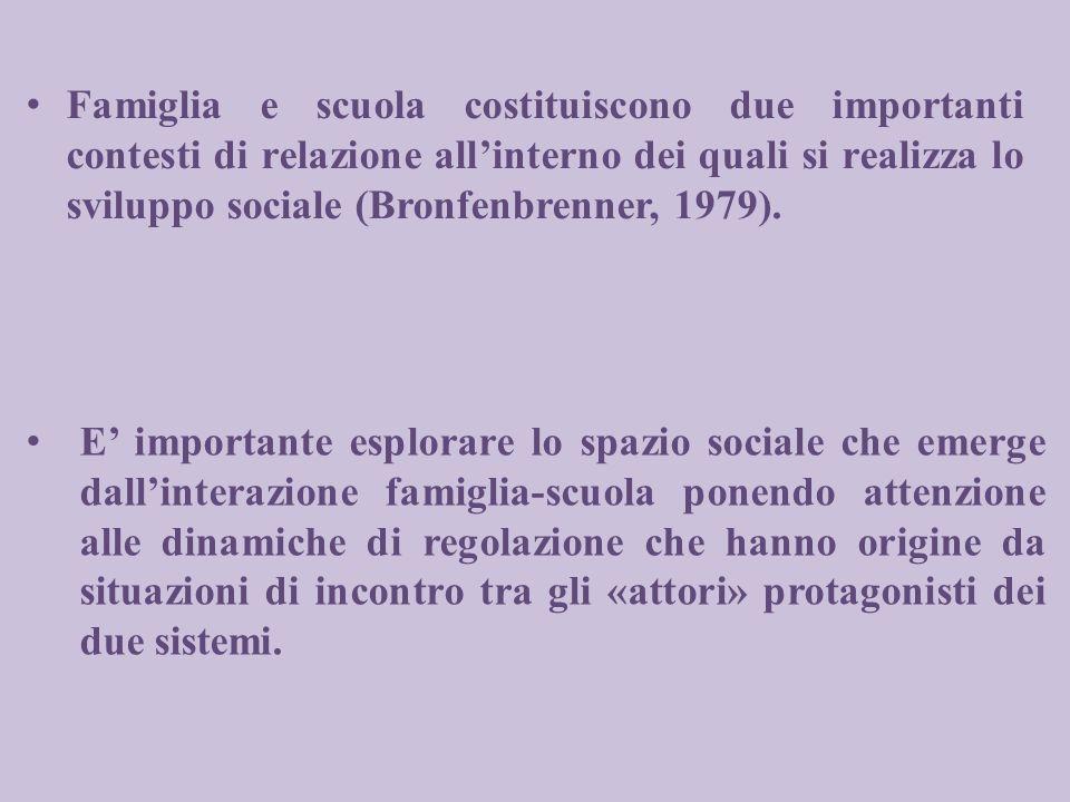 Famiglia e scuola costituiscono due importanti contesti di relazione allinterno dei quali si realizza lo sviluppo sociale (Bronfenbrenner, 1979). E im