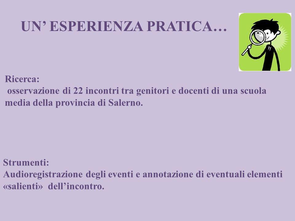 Ricerca: osservazione di 22 incontri tra genitori e docenti di una scuola media della provincia di Salerno. Strumenti: Audioregistrazione degli eventi