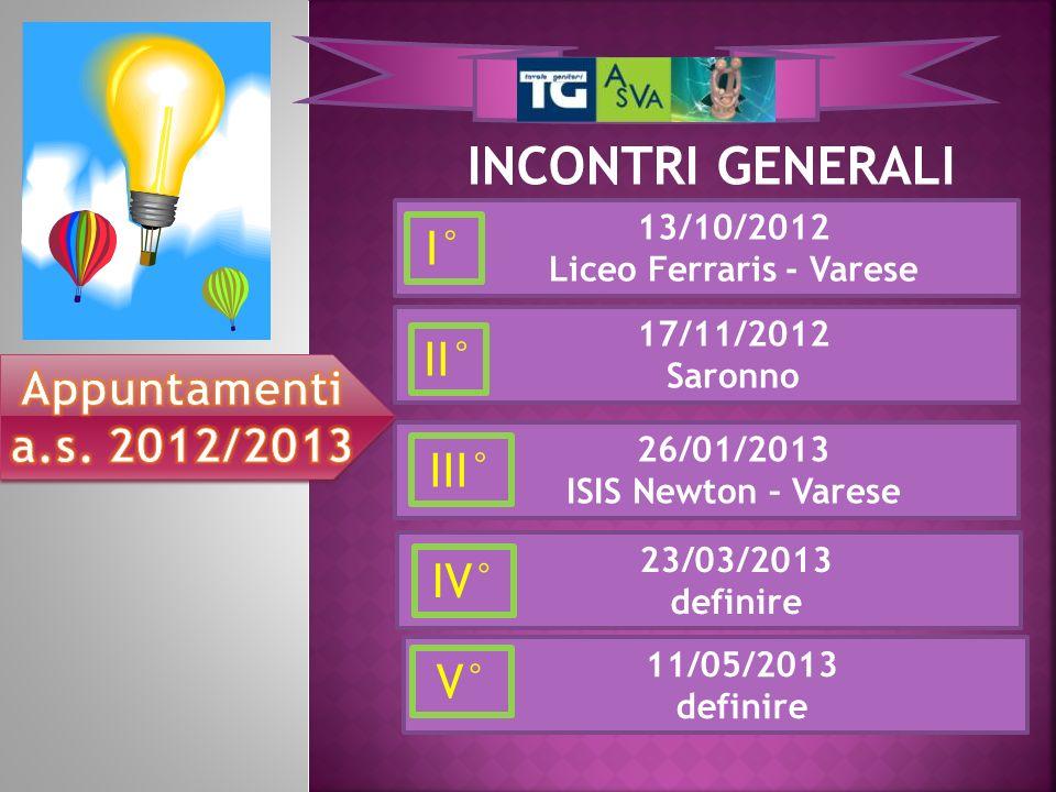 INCONTRI GENERALI 26/01/2013 ISIS Newton – Varese 17/11/2012 Saronno 13/10/2012 Liceo Ferraris - Varese I° II° III° 23/03/2013 definire IV° 11/05/2013 definire V°