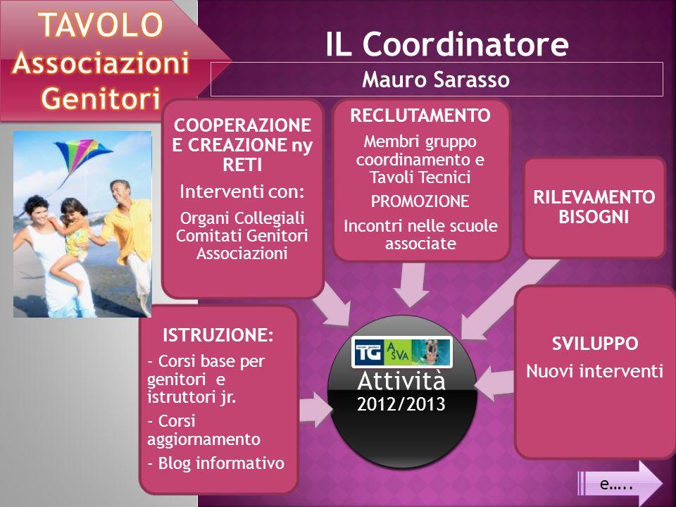 e….. IL Coordinatore Mauro Sarasso Attività 2012/2013 ISTRUZIONE: - Corsi base per genitori e istruttori jr. - Corsi aggiornamento - Blog informativo