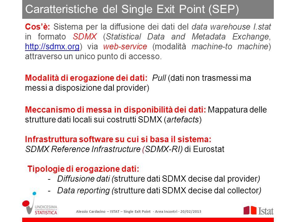 Single Exit Point Sviluppo nuove funzionalità per il Registry (Registry web GUI,Submit Structure method,..) Sviluppo software per utenti finali (Windows client, Excel plug-in,…) User Group SDMX-RI (Eurostat) OECD SIS-CC Infrastruttura tecnologica Census Hub, ICT-VIP, ESA2010 STS - OECD Diffusione MtoM dati I.Stat Diffusione MtoM dati censuari (Censagri – progetto DIDAC) Metadati strutturali dei dati aggregati (Registry) Mapping Store SDMX Registry Panorama delle attività relative al SEP Alessio Cardacino – ISTAT – Single Exit Point - Area Incontri - 20/02/2013