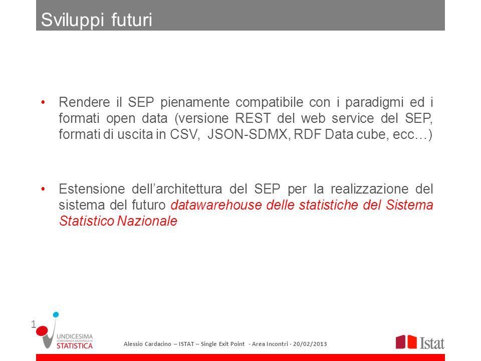 Rendere il SEP pienamente compatibile con i paradigmi ed i formati open data (versione REST del web service del SEP, formati di uscita in CSV, JSON-SD