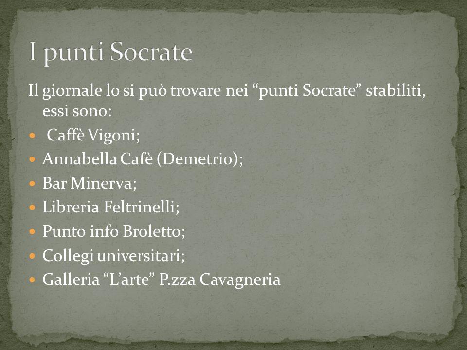 Il giornale lo si può trovare nei punti Socrate stabiliti, essi sono: Caffè Vigoni; Annabella Cafè (Demetrio); Bar Minerva; Libreria Feltrinelli; Punt