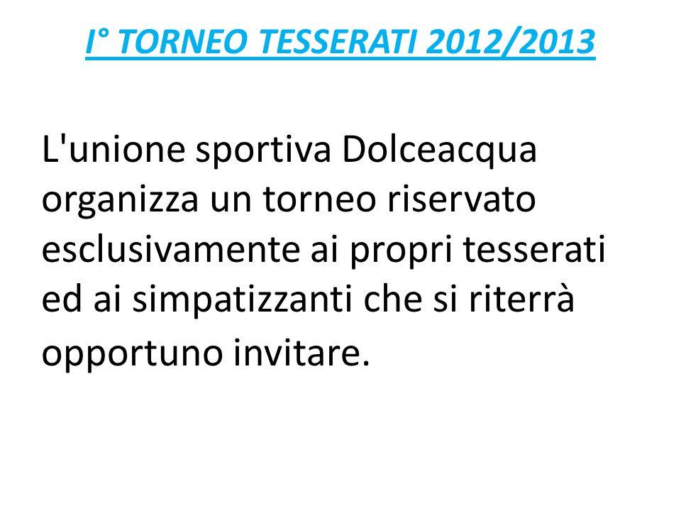 I° TORNEO TESSERATI 2012/2013 L unione sportiva Dolceacqua organizza un torneo riservato esclusivamente ai propri tesserati ed ai simpatizzanti che si riterrà opportuno invitare.