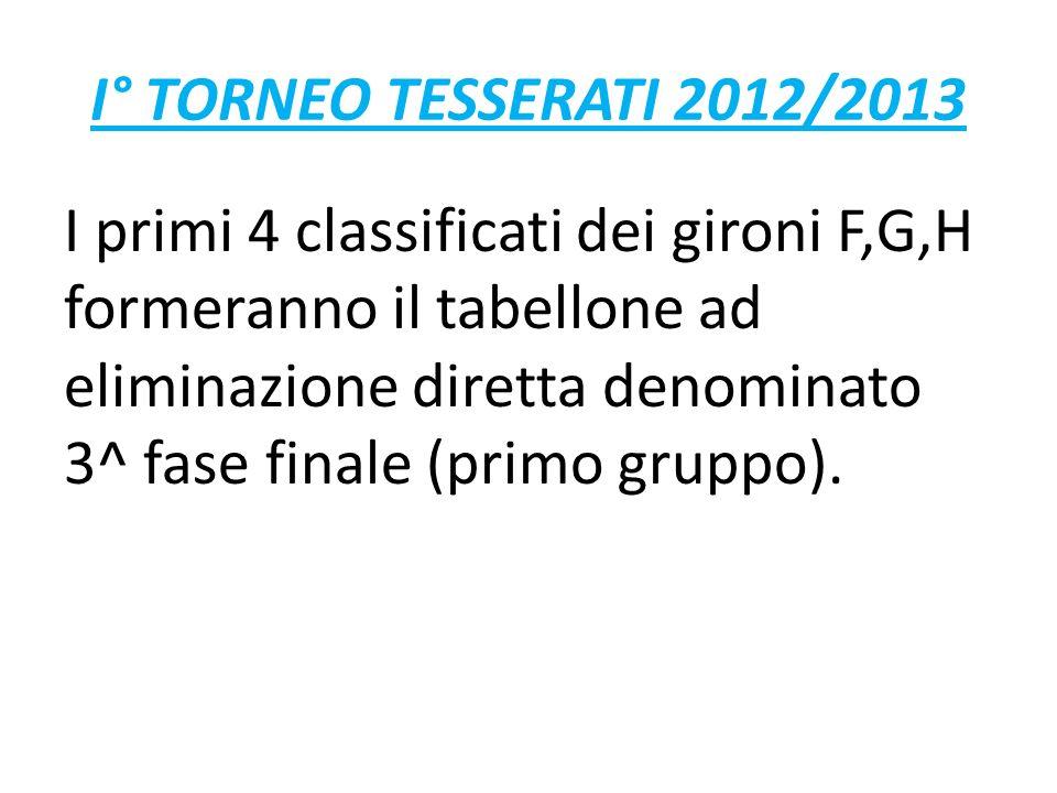 I° TORNEO TESSERATI 2012/2013 I primi 4 classificati dei gironi F,G,H formeranno il tabellone ad eliminazione diretta denominato 3^ fase finale (primo gruppo).