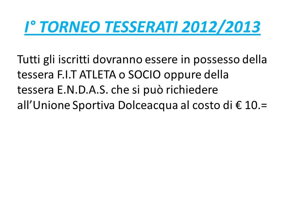 I° TORNEO TESSERATI 2012/2013 Tutti gli iscritti dovranno essere in possesso della tessera F.I.T ATLETA o SOCIO oppure della tessera E.N.D.A.S.