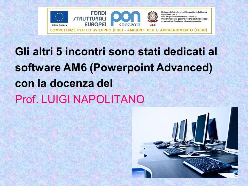 Gli altri 5 incontri sono stati dedicati al software AM6 (Powerpoint Advanced) con la docenza del Prof. LUIGI NAPOLITANO