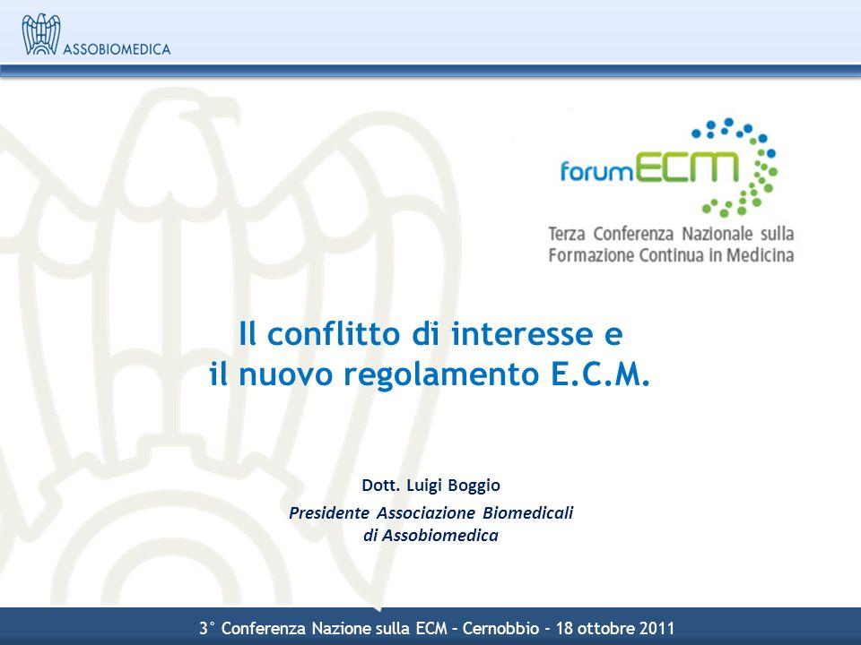Il conflitto di interesse e il nuovo regolamento E.C.M. Dott. Luigi Boggio Presidente Associazione Biomedicali di Assobiomedica 3° Conferenza Nazione