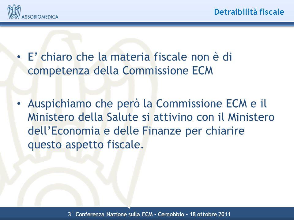 Detraibilità fiscale E chiaro che la materia fiscale non è di competenza della Commissione ECM Auspichiamo che però la Commissione ECM e il Ministero