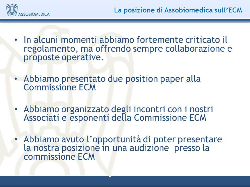 La posizione di Assobiomedica sullECM In alcuni momenti abbiamo fortemente criticato il regolamento, ma offrendo sempre collaborazione e proposte oper