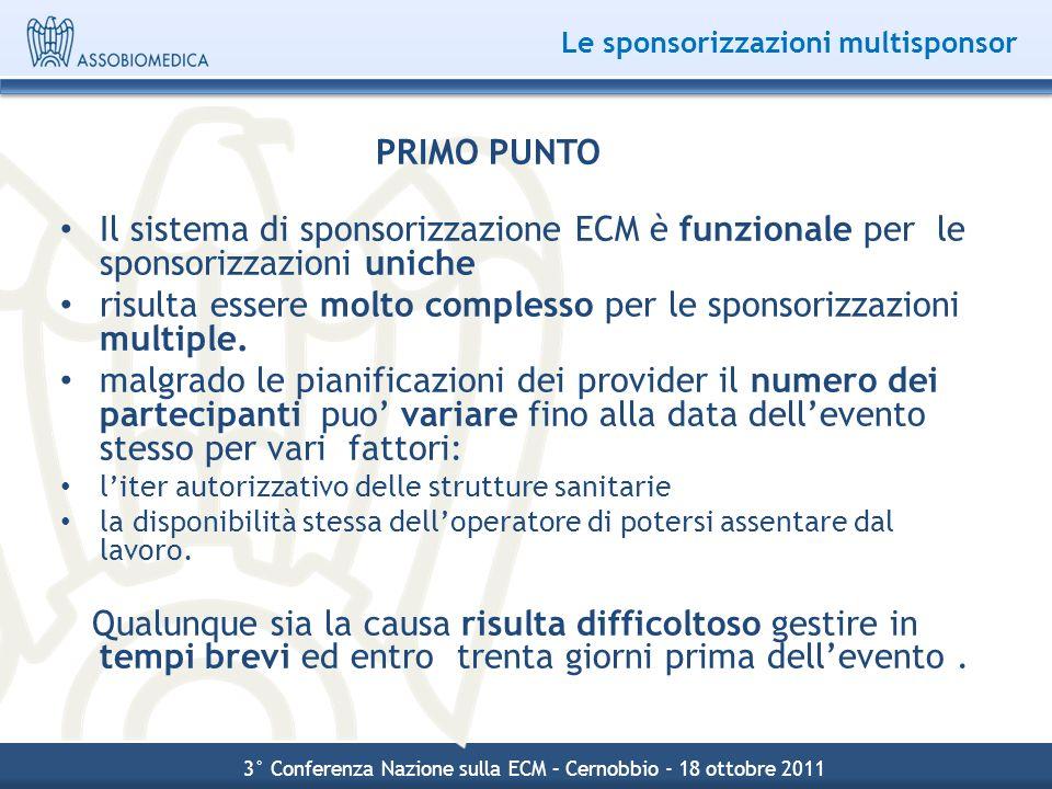 Le sponsorizzazioni multisponsor PRIMO PUNTO Il sistema di sponsorizzazione ECM è funzionale per le sponsorizzazioni uniche risulta essere molto compl