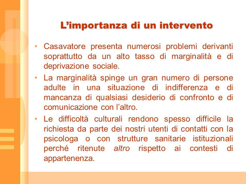 Limportanza di un intervento Casavatore presenta numerosi problemi derivanti soprattutto da un alto tasso di marginalità e di deprivazione sociale.