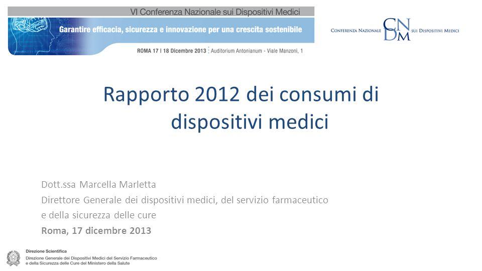 Rapporto 2012 dei consumi di dispositivi medici Dott.ssa Marcella Marletta Direttore Generale dei dispositivi medici, del servizio farmaceutico e della sicurezza delle cure Roma, 17 dicembre 2013