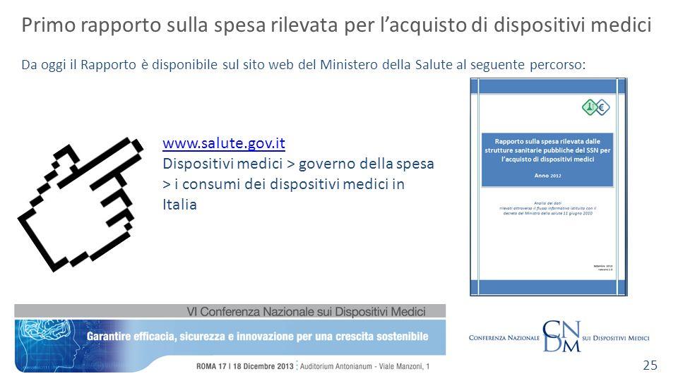Primo rapporto sulla spesa rilevata per lacquisto di dispositivi medici Da oggi il Rapporto è disponibile sul sito web del Ministero della Salute al s