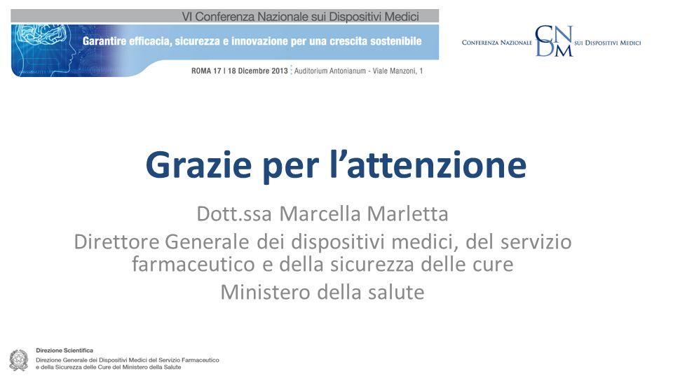 Grazie per lattenzione 26 Dott.ssa Marcella Marletta Direttore Generale dei dispositivi medici, del servizio farmaceutico e della sicurezza delle cure Ministero della salute
