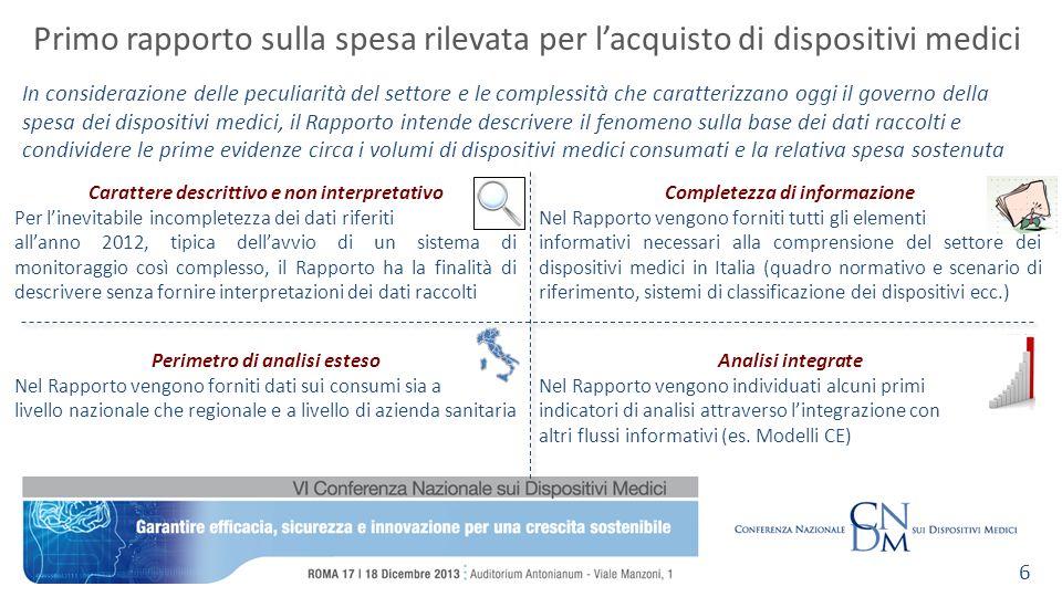 Carattere descrittivo e non interpretativo Per linevitabile incompletezza dei dati riferiti allanno 2012, tipica dellavvio di un sistema di monitoragg