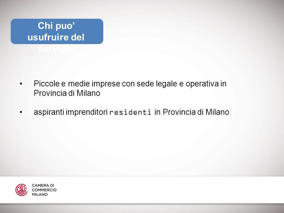 Chi puo usufruire del servizio Piccole e medie imprese con sede legale e operativa in Provincia di Milano aspiranti imprenditori residenti in Provincia di Milano